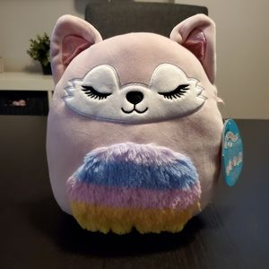 """Squishmallows, Alessi fox, 8"""", rainbow belly, tail"""